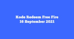 Kode Redeem FF 16 September 2021